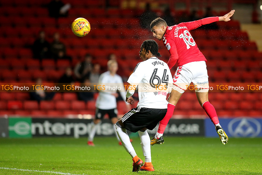 Charlton's Karian Ahearne-Grant heads the ball just wide of the Fulham goal during Charlton Athletic vs Fulham Under-21, Checkatrade Trophy Football at The Valley on 1st November 2017