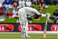 Jeet Raval of the Black Caps gets a ball in the ribs during Day 4 of the Second International Cricket Test match, New Zealand V England, Hagley Oval, Christchurch, New Zealand, 2nd April 2018.Copyright photo: John Davidson / www.photosport.nz
