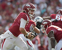 NWA Democrat-Gazette/J.T. WAMPLER Arkansas' Austin Allen looks to handoff Saturday Sept. 9, 2017 at Donald W. Reynolds Razorback Stadium in Fayetteville. TCU won 28-7.