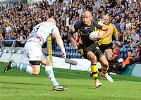 High Wycombe, England. Tom Varndell of London Wasps runs in for a try during the Aviva Premiership match between London Wasps and London Irish at Adams Park on September,15 2012 in High Wycombe, England.
