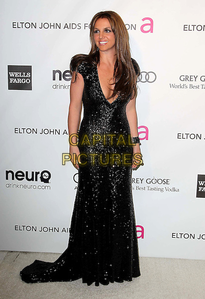 Britney Spears (wearing Michael Cinco Couture).The 21st Annual Elton John AIDS Foundation Academy Awards Viewing Party held at The City of West Hollywood Park in West Hollywood, California, USA..February 24th, 2013.oscars full length black dress sequins sequined plunging neckline cleavage dyed brown hair brunette .CAP/ADM/KB.©Kevan Brooks/AdMedia/Capital Pictures.