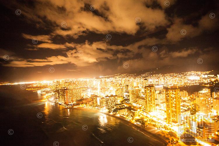 An aerial view of Waikiki at night, O'ahu.