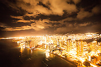 An aerial view of Waikiki at night, O'ahu.