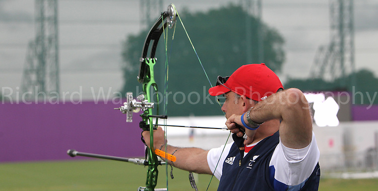 Paralympics London 2012 - ParalympicsGB - Archery Mens Individual Compound Open Heats 30th August 2012.  .Richard Hennahane competing in the Mens Archery Individual Compound - Open Heats at the Paralympic Games in London. Photo: Richard Washbrooke/ParalympicsGB