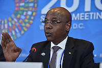 Washington, DC - April 16, 2016: Mahamat Allamine Bourma Treye, Minister of Finance, Chad, participates in a press briefing of African finance ministers at the IMF HQ2 building during the IMF/World Bank Spring Meetings in the District of Columbia, April 16, 2016.  (Photo by Don Baxter/Media Images International)