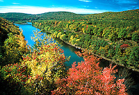 Autumn view of the Delaware River showing fall foliage. Pond Eddy New York USA.