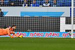 15.02.2020, PreZero-Arena, Sinsheim, GER, 1. FBL, TSG 1899 Hoffenheim vs. VFL Wolfsburg, <br /> <br /> DFL REGULATIONS PROHIBIT ANY USE OF PHOTOGRAPHS AS IMAGE SEQUENCES AND/OR QUASI-VIDEO.<br /> <br /> im Bild: Oliver Baumann (TSG Hoffenheim #1)<br /> <br /> Foto © nordphoto / Fabisch