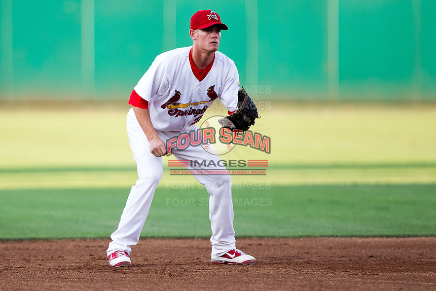 Ryan Jackson (23) of the Springfield Cardinals on defense during a game against the Tulsa Drillers at Hammons Field on July 19, 2011 in Springfield, Missouri. Tulsa defeated Springfield 17-11. (David Welker / Four Seam Images)