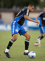 22 May 2008: Jason Hernandez of the Earthquakes prepares to kick a ball during the game against the Dynamo at Buck Shaw Stadium in San Jose, California.   San Jose Earthquakes defeated Houston Dynamo, 2-1.