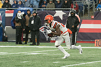 FOXBOROUGH, MA - OCTOBER 27: Cleveland Browns Runningback Dontrell Hilliard #25 receives a kickoff during a game between Cleveland Browns and New Enlgand Patriots at Gillettes on October 27, 2019 in Foxborough, Massachusetts.