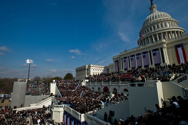 WASHINGTON, DC - Jan. 20: President Barack Obama delivers his inaugural address. Obama is the nation's first African American president. (Photo by Scott J. Ferrell/Congressional Quarterly)