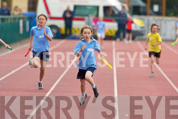 Ciara McCarthy Ardfert NS leaves the rest of the runners in her dust as she wins the Girls 4x100m Second class relay at the County National Schools athletics finals in Castleisland on Saturday