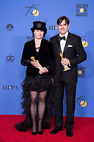 For BEST TELEVISION SERIES - MUSICAL OR COMEDY, the Golden Globe is awarded to &quot;The Marvelous Mrs. Maisel&quot; (AMAZON). Amy Sherman-Palladino and Daniel Palladino pose with the award backstage in the press room at the 75th Annual Golden Globe Awards at the Beverly Hilton in Beverly Hills, CA on Sunday, January 7, 2018.<br /> *Editorial Use Only*<br /> CAP/PLF/HFPA<br /> &copy;HFPA/PLF/Capital Pictures