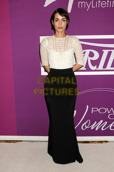 "SHANNYN SOSSAMON.Variety's 1st Annual ""Power Of Women"" Luncheon held at the Beverly Wilshire hotel, Beverly Hills, California, USA..September 24th, 2009.full length long black skirt white cut out away pattern.CAP/ADM/BP.©Byron Purvis/AdMedia/Capital Pictures."