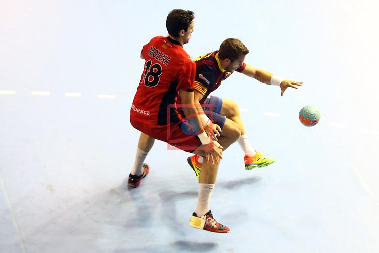 XXIV Copa ASOBAL - Game: 2<br /> FC Barcelona vs BM Huesca: 39-25.<br /> Molina vs Victor Tomas.