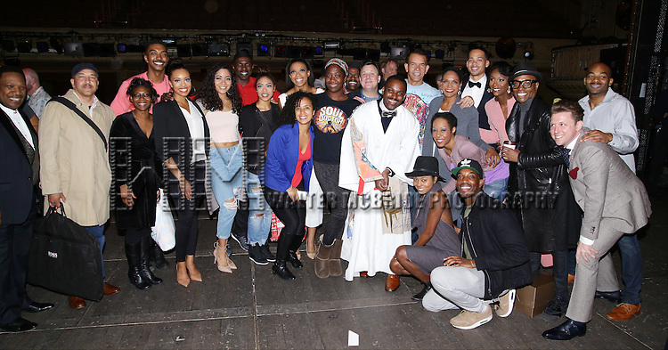 Arbender Robinson with Brian Stokes Mitchell, Audra McDonald, Joshua Henry, Brandon Victor Dixon, Billy Porter and company during the Actors' Equity Opening Night Gypsy Robe Ceremony honoring Arbender Robinson for 'Shuffle Along' at The Music Box Theatre on April 28, 2016 in New York City.
