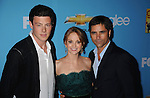 "HOLLYWOOD, CA. - September 07: Cory Monteith, Jayma Mays and John Stamos attend the ""Glee"" Season 2 Premiere Screening And DVD Release Party at Paramount Studios on September 7, 2010 in Hollywood, California."