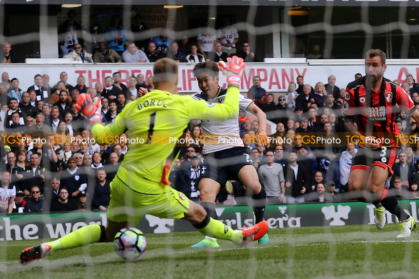 Son Heung-Min of Tottenham Hotspur scores the second goal during Tottenham Hotspur vs AFC Bournemouth, Premier League Football at White Hart Lane on 15th April 2017