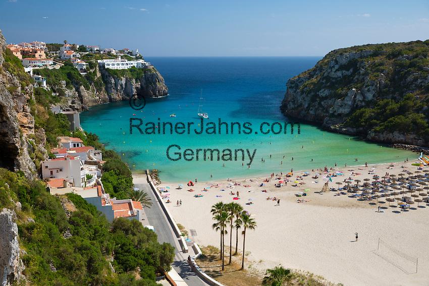 Spain, Menorca: Cala en Porter, beach at South East Coast | Spanien, Menorca: Cala en Porter, Strand an der Suedost-Kueste