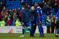 Cardiff City manager Neil Warnock celebrates with Sol Bamba at full time of the Sky Bet Championship match between Cardiff City and Middlesbrough at the Cardiff City Stadium, Cardiff, Wales on 17 February 2018. Photo by Mark Hawkins / PRiME Media Images.
