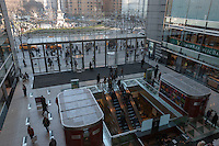 A view inside the atrium of the of the Time Warner Center, with Columbus Circle in the background, in New York City, New York