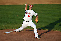 Tri-City ValleyCats pitcher Troy Scribner (44) delivers a pitch during a game against the Batavia Muckdogs on August 2, 2014 at Joseph L. Bruno Stadium in Troy, New  York.  Tri-City defeated Batavia 8-4.  (Mike Janes/Four Seam Images)