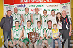 The St Brendan's team celebrate after defeating St Mary's in the Senior Men's final at St Mary's Basketball blitz in Castleisland on Thursday front row l-r: Eoin Quigley, Fergal O'Sullivan, Jason Quirke, Vinnny Murphy, Simon Carey. Back row: Joe Quirke, Michea?l Quirke, Saulis Mazcindevicius, Kieran Donaghy, Cathal O'Sullivan, Liam Culloty, Maura Conroy and Donal O'Connor