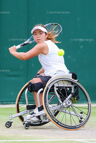 Yui Kamiji (JPN), JULY 16, 2017 - Tennis : Yui Kamiji of Japan during the Women's wheelchair doubles final match of the Wimbledon Lawn Tennis Championships against Marjolein Buis and Diede De Groot of the Netherlands at the All England Lawn Tennis and Croquet Club in London, England. (Photo by AFLO)