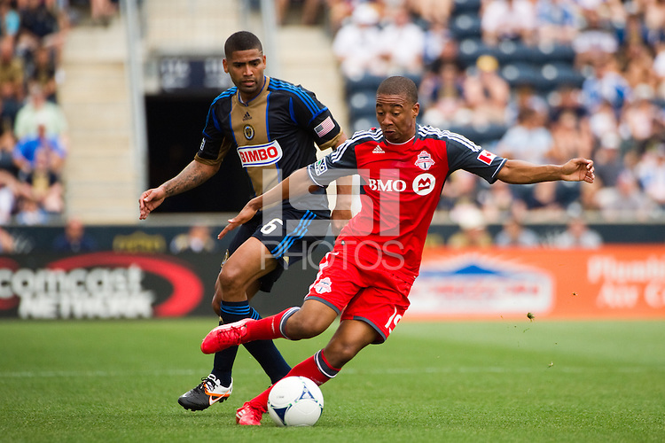 Reggie Lambe (19) of Toronto FC. The Philadelphia Union defeated Toronto FC 3-0 during a Major League Soccer (MLS) match at PPL Park in Chester, PA, on July 8, 2012.
