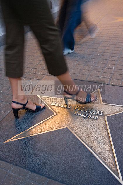 Europe/Pologne/Lodz: l'Allée des Stars sur la rue Piotrkowska plus longue rue pietonne de Pologne - les étoiles portent le nom des personnalités célèbres du cinéma Polonais