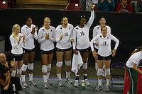 15 December 2007: Stanford Cardinal Joanna Evans (3), Janet Okogbaa (2), Alex Fisher (5), Stephanie Browne (15), Foluke Akinradewo (16), Cassidy Lichtman (8), and Jessica Fishburn (11) during Stanford's 25-30, 26-30, 30-23, 30-19, 8-15 loss against the Penn State Nittany Lions in the 2007 NCAA Division I Women's Volleyball Final Four championship match at ARCO Arena in Sacramento, CA.