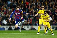 27th November 2019; Camp Nou, Barcelona, Catalonia, Spain; UEFA Champions League Football, Barcelona versus Borussia Dortmund;  Leo Messi breaks away from Guerreiro of Dortmund - Editorial Use