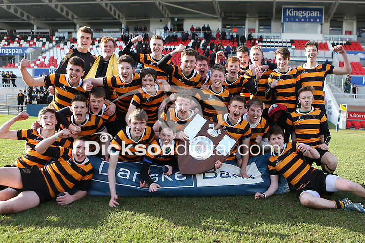 MEDALLION SHILED FINAL | Monday 10th March 2015<br /> <br /> RBAI celebrate with the Medallion Shield after the 2015 Ulster Schools Medallion Shield Final at the Kingspan Stadium, Ravenhill Park, Belfast.<br /> <br /> Picture credit: John Dickson / DICKSONDIGITAL