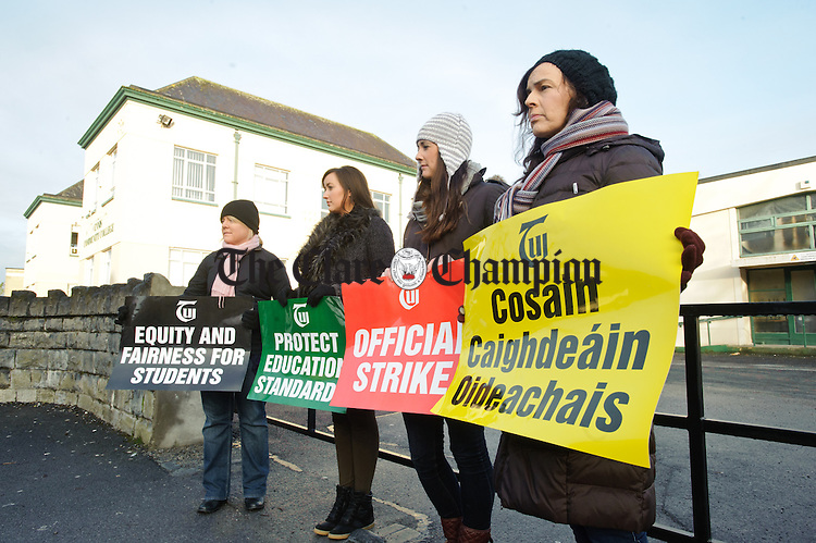 Ennis Community College/Gaelcholaiste An Chlair teachers on the picket outside their schools in Ennis. Photograph by John Kelly.