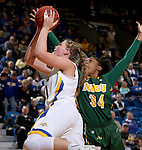 BROOKINGS, SD - FEBRUARY 6:  Clarissa Ober #21 from South Dakota State drives past Brianna Jones #34 from North Dakota State Saturday afternoon at Frost Arena in Brookings. (Photo by Dave Eggen/Inertia)