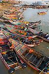 Boats on Ayeyarwardy river in Yangon