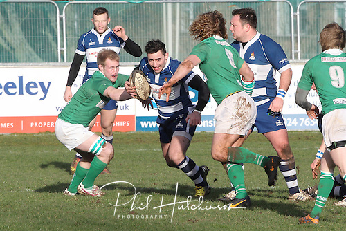 1.2.2014, Coventry, England.  Louis Silver (Coventry) on the charge during the Division One fixture between Coventry and Wharfedale RFC from the Butts Park Arena.
