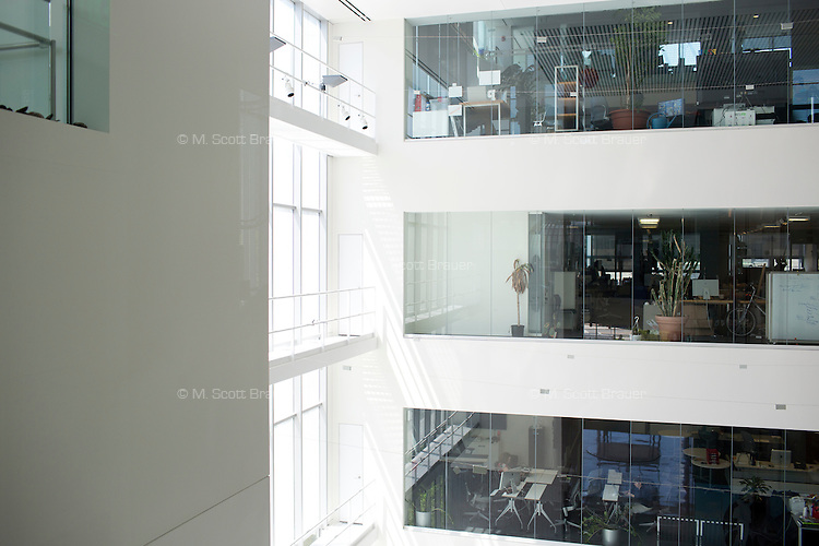 A view of offices and labs from the lobby of MIT's Media Lab in Cambridge, Massachusetts, USA.