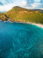 An aerial morning view of Koko Crater and Sandy Beach along southeastern O'ahu.