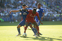 Liverpool's Sadio Mane shields the ball from Cardiff City's Lee Peltier<br /> <br /> Photographer Ian Cook/CameraSport<br /> <br /> The Premier League - Cardiff City v Liverpool - Sunday 21st April 2019 - Cardiff City Stadium - Cardiff<br /> <br /> World Copyright © 2019 CameraSport. All rights reserved. 43 Linden Ave. Countesthorpe. Leicester. England. LE8 5PG - Tel: +44 (0) 116 277 4147 - admin@camerasport.com - www.camerasport.com