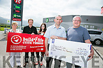 Kieran O'Shea presenting a cheque to Joe Brown of Build For Life for a 40th birthday party at Benners Hotel  that he turned into a fundraiser. Back l-r  Betty Hand, Ray Spillane and Ashling Spillane who has cystic fibrosis