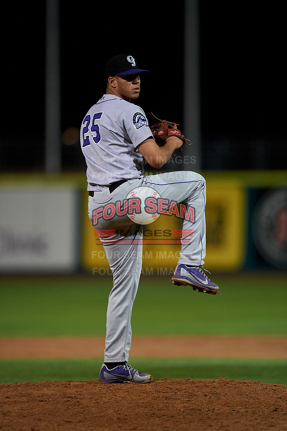 Grand Junction Rockies relief pitcher Ever Moya (25) during a Pioneer League game against the Billings Mustangs at Dehler Park on August 14, 2019 in Billings, Montana. Grand Junction defeated Billings 8-5. (Zachary Lucy/Four Seam Images)
