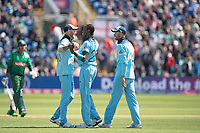 Ben Stokes (England) quick to congratulate Jofra Archer (England) on the wicket of Soumya Sarkar (Bangladesh) during England vs Bangladesh, ICC World Cup Cricket at Sophia Gardens Cardiff on 8th June 2019