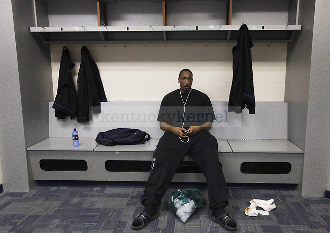 Ramon Harris hangs out in the locker room after the UK mens basketball team's 73-67 win over Alabama in the quarterfinals of the SEC tournament at the Sommet Center Friday, March 12, 2010. Photo by Britney McIntosh | Staff