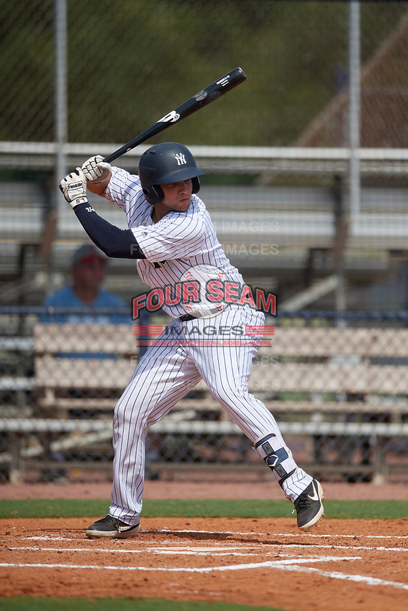 GCL Yankees East Raymundo Moreno (5) bats during a Gulf Coast League game against the GCL Phillies East on July 31, 2019 at Yankees Minor League Complex in Tampa, Florida.  GCL Yankees East defeated the GCL Phillies East 11-0 in the first game of a doubleheader.  (Mike Janes/Four Seam Images)