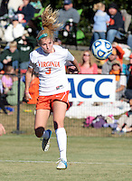 Virginia's Amber Fry (3) heads the ball scoring a goal during the first round of the ACC Tournament against Maryland Sunday at Klockner Stadium.  Virginia defeated Maryland 6-1. Photo/The Daily Progress/Andrew Shurtleff