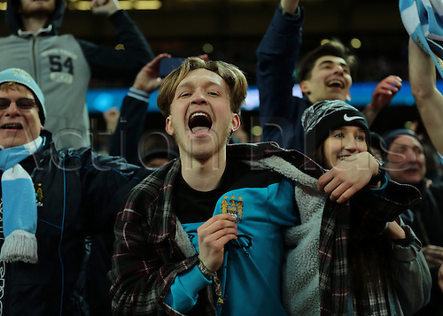 28.02.2016. Wembley Stadium, London, England. Capital One Cup Final. Manchester City versus Liverpool. Manchester City fans celebrate their penalty shoot out win