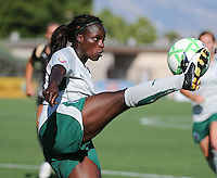Athletica's Eniola Aluko volleys the ball, .St. Louis Athletica over FC Gold Pride 1-0 at Buck Shaw Stadium, in Santa Clara, California, Sunday, July 5, 2009.