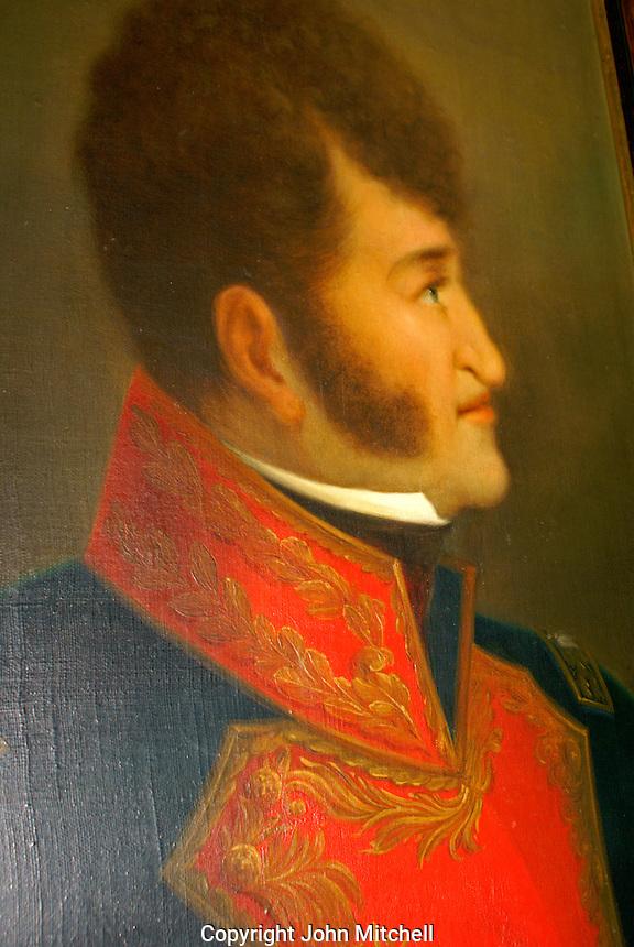 Oil painting of Ignacio Allende, Museo Historico de San Miguel de Allende in San Miguel de Allende, Mexico. San Miguel de Allende is a UNESCO World Heritage Site....