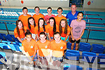 Kingdom Swimming Club Division 1 Team, training at the Tralee Sports Complex on Monday. Pictured Front left to right Sadhbh Daly, Jenny Fox, Rachel O'Donnell, Middle left to right, Ailbhe Connell, Megan O'Donnell, Sandra Lynch, Sarah Gavaghan, Hollie Boyd, Caomhan Daly.  Back left to right, Conor O'Donoghue, Dylan Fitzgerald, Jack Grace, Conor Harty, Coach Joe McDonnell